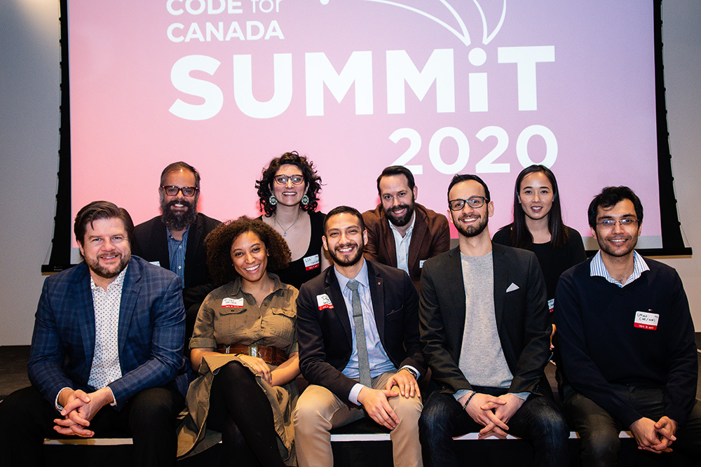 Nine members of the Code for Canada team pose together at our 2020 Summit in Toronto.
