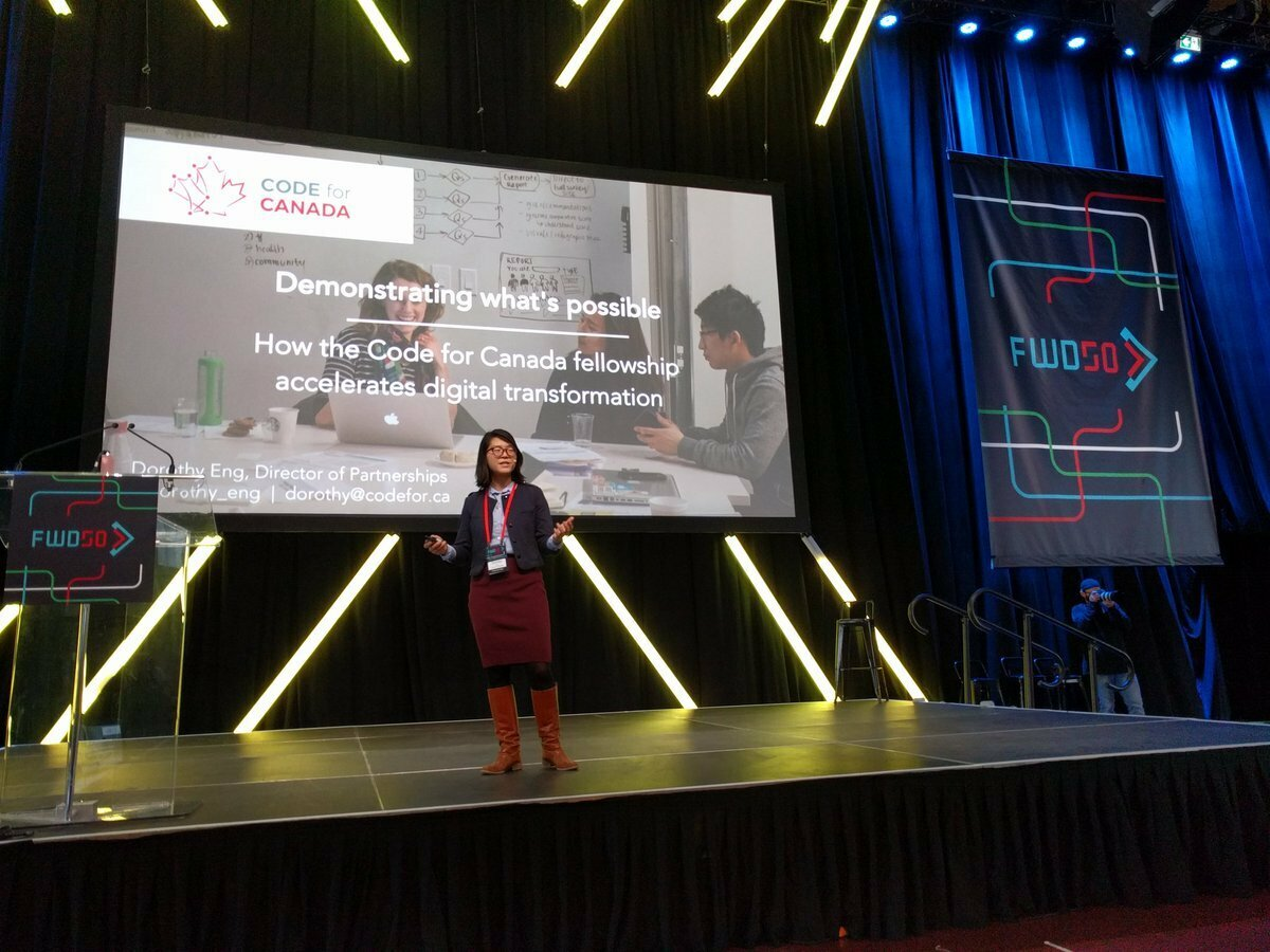 Dorothy Eng speaking on stage at FWD50